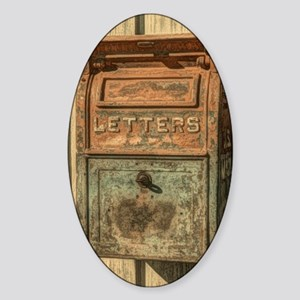 western country vintage mailbox Sticker (Oval)