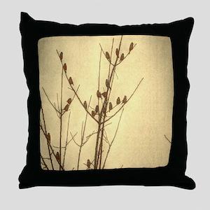 modern sunset zen tree branches birds Throw Pillow