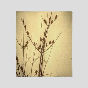 modern sunset zen tree branches bird Throw Blanket