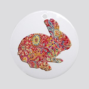 Colorful Floral Easter Bunny Ornament (Round)