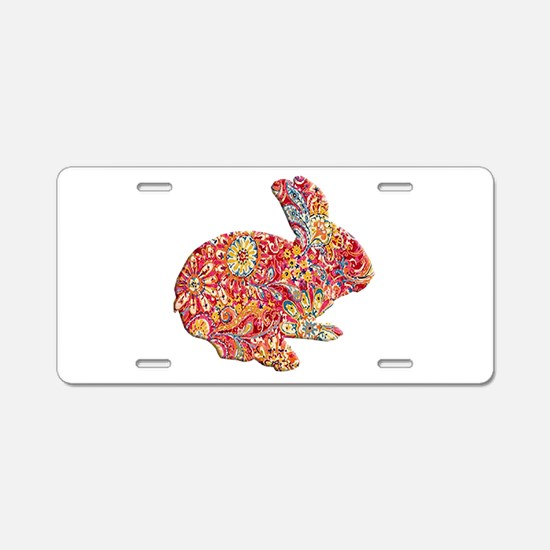 Colorful Floral Easter Bunny Aluminum License Plat