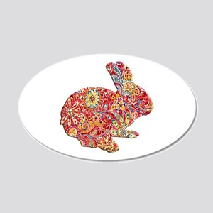 Colorful Floral Easter Bunny Wall Decal