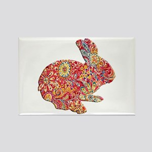Colorful Floral Easter Bunny Magnets