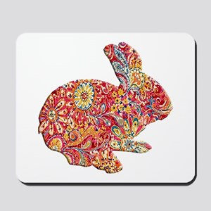Colorful Floral Easter Bunny Mousepad