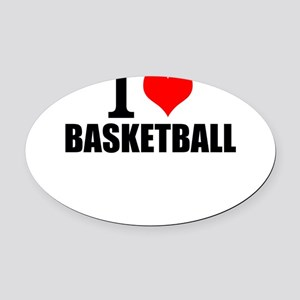 I Love Basketball Oval Car Magnet
