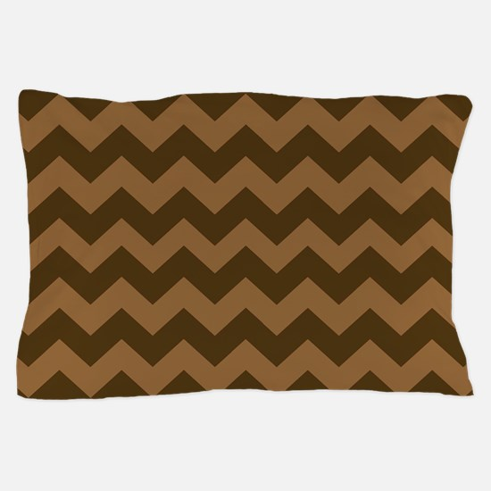 Shades of Brown Chevron Stripes Pillow Case