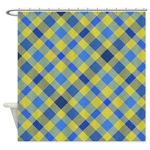 Blue Plaid Pattern Shower Curtains