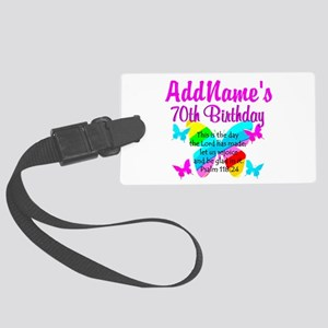 BLESSED 70TH Large Luggage Tag