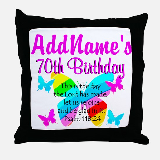 BLESSED 70TH Throw Pillow