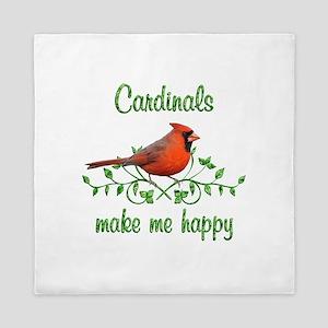 Cardinals Make Me Happy Queen Duvet