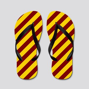 Maroon and Gold Striped Flip Flops