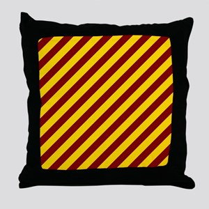 Maroon and Gold Striped Throw Pillow