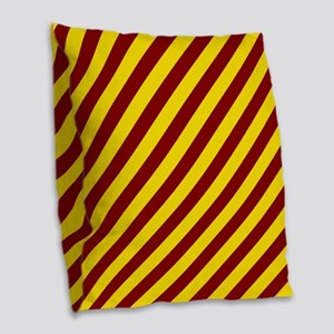 Maroon and Gold Striped Burlap Throw Pillow