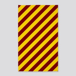 Maroon and Gold Striped 3'x5' Area Rug