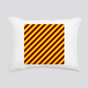 Maroon and Gold Striped Rectangular Canvas Pillow