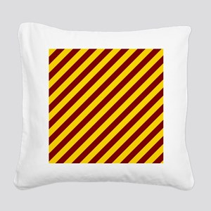 Maroon and Gold Striped Square Canvas Pillow