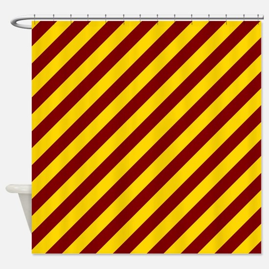 Maroon and Gold Striped Shower Curtain