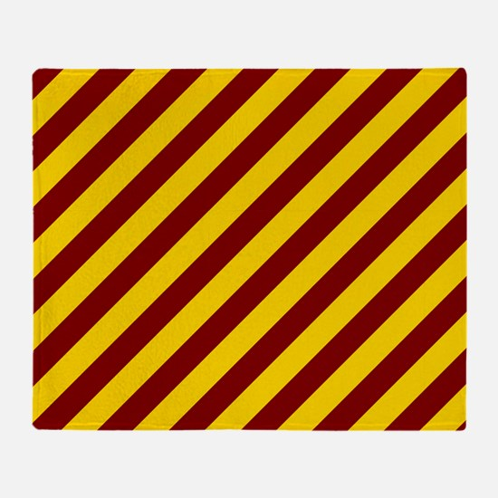 Maroon and Gold Striped Throw Blanket