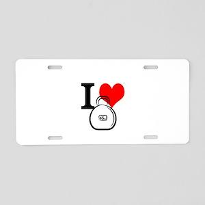 I Heart Kettlebell Aluminum License Plate