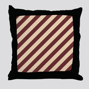 Brown and Cream Striped Throw Pillow