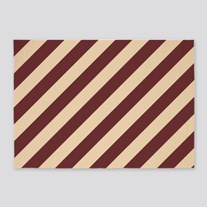 Brown and Cream Striped 5'x7'Area Rug