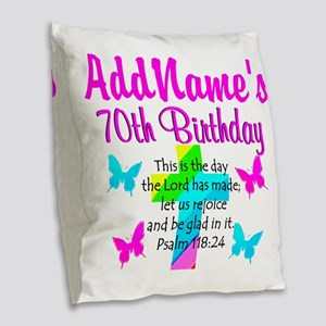 70TH PRAISE GOD Burlap Throw Pillow