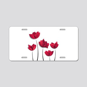Paper Flowers Aluminum License Plate