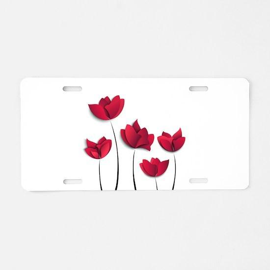 Paper Flowers Aluminum License Plate