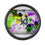 Violets Large Wall Clock
