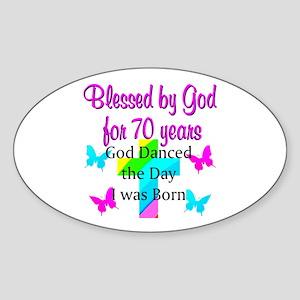 70TH LOVING GOD Sticker (Oval)