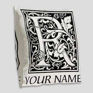 Custom Decorative Letter R Burlap Throw Pillow
