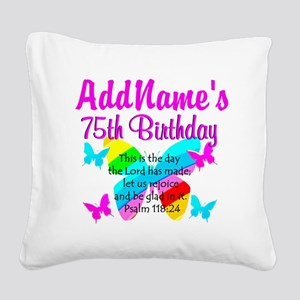 75TH BUTTERFLY Square Canvas Pillow