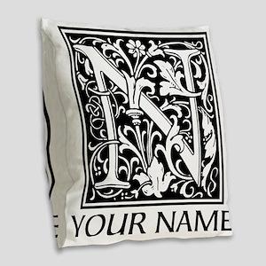 Custom Decorative Letter N Burlap Throw Pillow