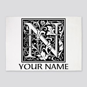 Custom Decorative Letter N 5'x7'Area Rug