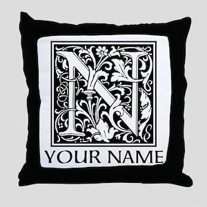 Custom Decorative Letter N Throw Pillow