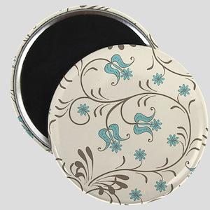 Gorgeous Aqua, Cream, Tan Pastel Floral Magnet