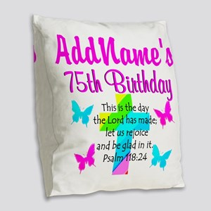 75TH CHRISTIAN Burlap Throw Pillow