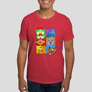 Cartoon Animal Squares Dark T-Shirt