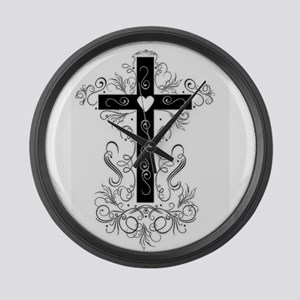 Flourish Cross Large Wall Clock