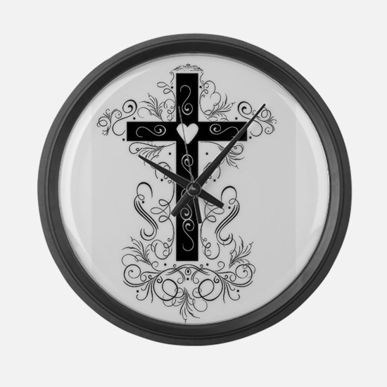 Flourish Cross Large Wall Clock