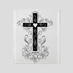 Flourish Cross Throw Blanket