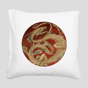 Vintage Dragon Square Canvas Pillow