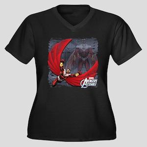 Soaring Falc Women's Plus Size V-Neck Dark T-Shirt