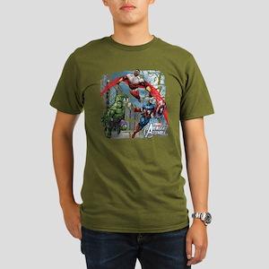Falcon, Hulk, and Cap Organic Men's T-Shirt (dark)