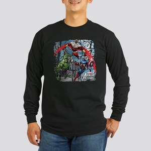 Falcon, Hulk, and Captain Long Sleeve Dark T-Shirt