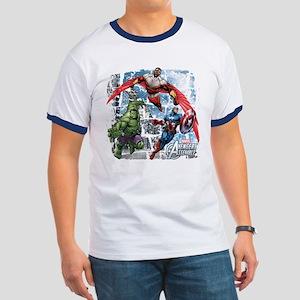 Falcon, Hulk, and Captain America Ringer T