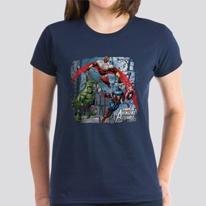 Falcon, Hulk, and Captain Ame Women's Dark T-Shirt