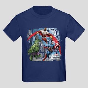 Falcon, Hulk, and Captain Americ Kids Dark T-Shirt