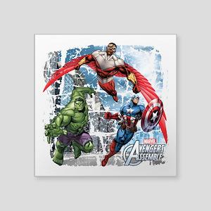 """Falcon, Hulk, and Captain A Square Sticker 3"""" x 3"""""""