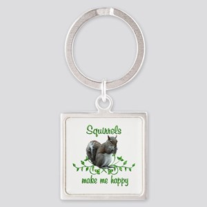 Squirrels Make Me Happy Square Keychain